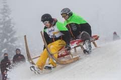 Gaben Vollgas: Adrian Marti mit Stefan Rubin .(Bild: Eveline Beerkircher (Sattel, 12. Januar 2019))
