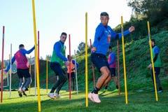 Ruben Vargas, Tomi Juric und Lucas Alves bei einer Übung. (Bild: Martin Meienberger (13. Januar 2019))