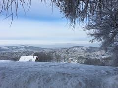 Die Stadt St. Gallen von oben und ganz in weiss. (Bild: Petra Fäh)