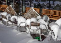 Das Café für Schneemänner in Gossau. (Bild: Wofgang Reisser)