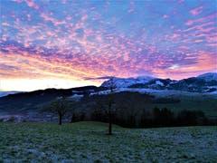 Morgenrot-Schlechtwetter droht; Abendrot-Gutwetterbot. Diese Bauernregel stimmt für heute definitiv nicht. (Bild: Peter Helfenstein, Hergiswil bei Willisau, 15. Januar 2019)