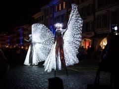 Die Lichtkunst sorgt für poetische und verspielte Glanzpunkte. (Bild: Keystone/ADRIEN PERRITAZ)