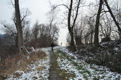 Den Naturwegen entlang geht's zurück Richtung Zoll.