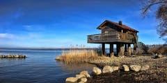 Ein Häuschen am See im Rheindelta (Bild: Toni Sieber)