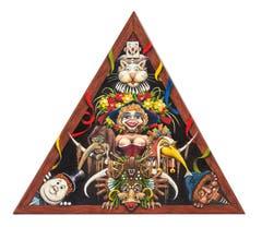 Urs Krähenbühl: Maskenpyramide. Öl.