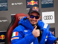 Dominik Paris freut sich über seinen dritten Abfahrtssieg in Kitzbühel (Bild: KEYSTONE/EPA/CHRISTIAN BRUNA)