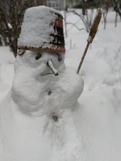 Auch für mich garstiges Winterwetter! Schneemann in Herisau. (Bild: Hanspeter Berger)