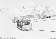 So ging es 1939 bergauf: Schlittenseilbahn («Funibah») von Iltios nach Stöfeli, Unterwasser. (Bild: Staatsarchiv)
