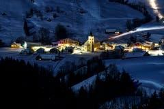 Brülisau bei Nacht von der Fäneren aus gesehen. (Bild: Remo Schläpfer)