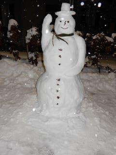 Hier kommt Ferdinand, der grüssende Schneemann aus St. Gallen, einmalig und eiskalt. (Bild: Roland Parigger)