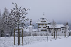 Winterstimmung beim Schloss Wyher. (Bild: André Egli (Ettiswil, 5. Januar 2019))