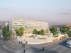 So soll das neue Bildung- und Forschungszentrum «Forum UZH» der Uni Zürich an der Ecke Gloria- und Rämistrasse dereinst aussehen. Platz machen müssen Turnhallen und ein Sportplatz. (Bild: KEYSTONE/HERZOG UND DE MEURON)