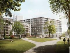 Blick vom Park auf das geplante neue Gebäude des Zürcher Unispitals USZ (rechts). Es ist Teil des Projekts ''Hochschulgebiet Zürich Zentrum'' (HGZZ). Dieses will Lehre, Forschung und medizinische Versorgung im Hochschulgebiet bündeln. (Bild: KEYSTONE/PONNIE IMAGES)