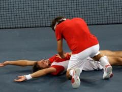 Das legendäre «Fedrinka»-Doppel: In Peking 2008 liefen Roger Federer und Stan Wawrinka heiss und gewannen Olympia-Gold (Bild: KEYSTONE/AP/ELISE AMENDOLA)