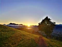 Goldener Sonnenaufgang an einem sonnigen Herbsttag auf dem Sonnenberg. (Bild: Urs Gutfleisch, Sonnenberg, 16. Oktober 2019)