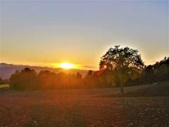 Zum Abschluss an diesem goldenen Herbsttag noch ein wunderschöner Sonnenuntergang. (Bild: Urs Gutfleisch, Ruswil, 16. Oktober 2019)
