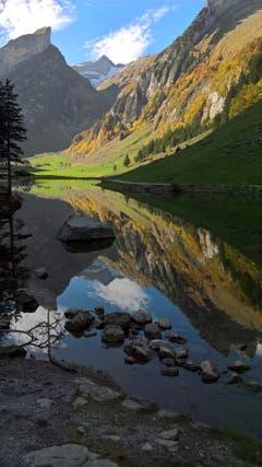 Herbstliches Panorama am Seealpsee. (Bild: Katrin Lang)