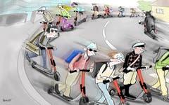 Trottis für Studenten Böse Stimmen in St.Gallen behaupten ja, das standesgemässe Gefährt für HSG-Studenten heisse BMW oder Porsche. Stimmt gar nicht! Neuerdings sind die Studis vom Hauptbahnhof auf den Rosenberg mit dem E-Trottinett unterwegs. 220 Fahrten sind's pro Woche. Das hat E-Scooter-Anbieter Voi gezählt. (Illustration: Corinne Bromundt)