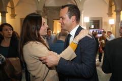 Karin Stadelmann (CVP) und Damian Müller (FDP). (Bild: Philipp Schmidli, Luzern, 20. Oktober 2019)