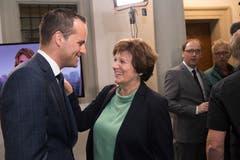 CVP-Nationalrätin Ida Glanzmann und FDP-Ständerat Damian Müller. (Bild: Eveline Beerkircher, Luzern, 20. Oktober 2019)