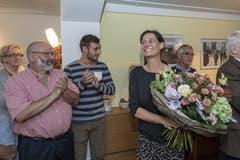 Die frisch gewählte Obwaldner Nationalrätin Monika Rüegger SVP freut sich über ihre Wahl in den Nationalrat. (Urs Flüeler/Keystone, Sarnen, 20. Oktober 2019)