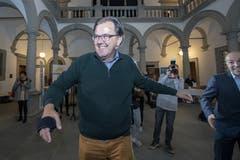 Dem abgewählten Luzerner Nationalrat Peter Schilliger (FDP) ist das Lachen nicht vergangen. (Bild: KEYSTONE/Urs Flüeler, Luzern, 20. Oktober 2019)