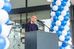 Stadtpräsident Karl Kobelt gab bei der Begrüssung einen kurzen Einblick in die neue Wirkungsstätte.