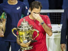 Nach seinem Jubiläums-Titel wird Roger Federer emotional (Bild: KEYSTONE/ALEXANDRA WEY)