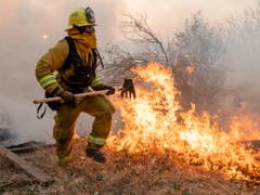 In Kalifornien kämpfen Einsatzkräfte seit Tagen gegen Waldbrände. (Bild: KEYSTONE/AP/ETHAN SWOPE)
