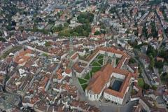 Der Stiftsbezirk St. Gallen aus der Vogelperspektive. (Bild: Josia Zaugg/www.70tageumdiewelt.ch)