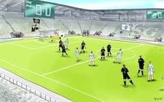 Geisterspiele in der Europa League. In dieser Saison gibt es wieder europäischen Spitzenfussball im Kybunpark zu sehen – allerdings nicht dank des FC St.Gallen, sondern dank des FC Lugano, der für seine Europa-League-«Heimspiele» nach St.Gallen ausgewichen ist. Die Begeisterung darüber hält sich jedoch in Grenzen. (Illustration: Corinne Bromundt - 5. Oktober 2019)