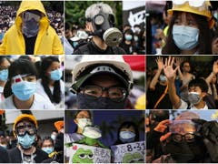 Demonstranten in Hongkong tragen Masken und vielfach auch dicht schliessende Brillen, um sich vor Tränengas oder Pfefferspray zu schützen. Ausserdem wollen sie verhindern, dass die Polizei sie identifiziert - etwa mit Software für Gesichtserkennung. (Archivbilder) (Bild: KEYSTONE/EPA)