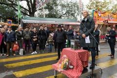 Stadträtin Manuela Jost eröffnet die Määs.(Bild: Eveline Beerkircher, Luzern, 5. Oktober 2019)