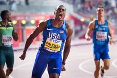 Christian Coleman (USA) holt in sensationellen 9,76 Sekunden Gold über 100 Meter bei den Männern: (Bild: Keystone)