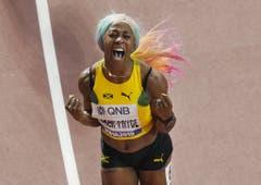 Shelly-Ann Fracer-Pryce ist die schnellste Frau der Welt. Sie holt über 100 Meter den Weltmeistertitel: (Bild: Keystone)