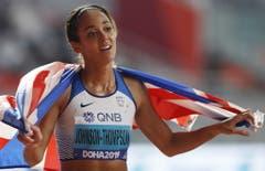 Katarina Johnson-Thompson krönt sich zur Königin der Siebenkämpferinnen. (Bild: Keystone)