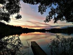 Wunderbare Abendstimmung beim Sonnenuntergang am Soppensee. (Bild: Urs Gutfleisch, Buttisholz, 7. Oktober 2019)