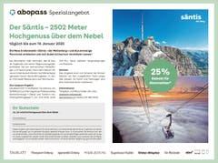 Beispiel: abopass Spezialangebot Säntis Schwebebahnen