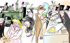 Sparmassnahmen. Die Föbüs müssen sparen und haben die traditionelle Nacht der Ehren-Födlebürger von der Lokremise ins Waaghaus verlegt. Kein Gala-Dinner mehr, dafür soll die Rechnung am neuen Standort wieder aufgehen. Vor allem, wenn die Föbüs selbst mitanpacken und den Gästen Ghackets und Hörnli gleich selbst servieren. (Illustration: Corinne Bromundt - 1. Februar 2019)