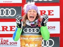 Ilka Stuhec - wie schon 2017 in St. Moritz wird sie erneut Abfahrts-Weltmeisterin (Bild: Dominik Angerer / Keystone)