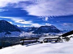 Wunderbare Aussicht auf die verschneiten Berge. (Bild: Urs Gutfleisch (Bürgenstock, 9. Februar 2019))