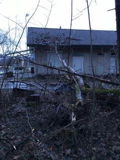 Das Vereinsgebäude des TV Sennwald wurde durch einen umgestürzten Baum in der Nacht auf Montag beschädigt. (Bild: PD)