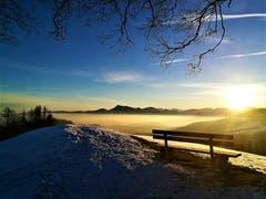Sonnenaufgang mit Blick auf die Rigi. (Bild: Urs Gutfleisch, Holderchäppeli, 14. Februar 2019)