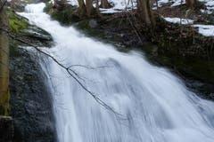 Dank der Schneeschmelze zeigt sich der Wasserfall in der Mühlenenschlucht von seiner besten Seite. (Bild: Franz Häusler)