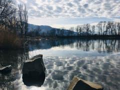 Wolkenspiegelung im alten Rhein bei Diepoldsau. (Bild: Toni Sieber)