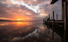 Sonnenuntergang am Zugersee. (Bild: Daniel Hegglin, Zug, 22. Februar 2019)