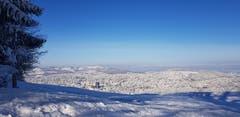 Aussicht auf die verzuckerte Stadt St. Gallen vom Freudenberg her. (Bild: Selina Schmutz)