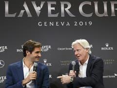 Federer und Borg geben über den Laver Cup 2019 Auskunft, der vom 20. bis 22. September in der Genfer Palexpo-Halle über die Bühne gehen wird (Bild: Keystone/SALVATORE DI NOLFI)