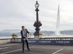 Das Genfer Wahrzeichen «Jet d'eau» im Hintergrund bietet dabei eine herrliche Kulisse (Bild: Keystone/EPA KEYSTONE/SALVATORE DI NOLFI)