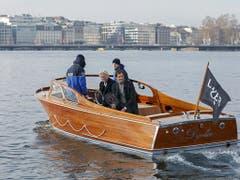 Danach geht es für Federer und Borg mit dem Boot auf den Genfersee (Bild: Keystone/SALVATORE DI NOLFI)